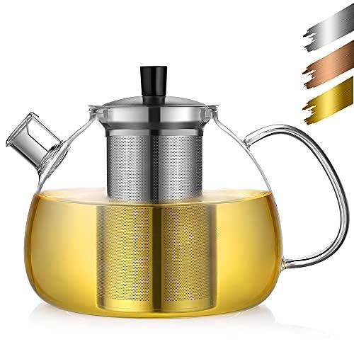 Ecooe Teekanne Glas Teebereiter 1500 ml mit abnehmbare Edelstahl-Sieb
