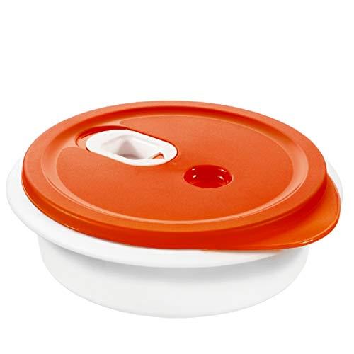 "Rotho 1760902792 Mikrowellengeschirr ""Micro Clever"", 1 L Inhalt, spülmaschinenfest, BPA-frei, Plastik, weiß / rot"