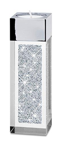 Modernes Teelicht Pylon klein mit SWAROVSKI ELEMENTS Kristallen - die besondere Tisch-Dekoration