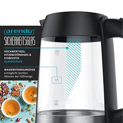 Arendo – Edelstahl-Glas-Wasserkocher inkl. LED-Innenbeleuchtung | Edelstahl-Glas-Optik | STRIX-Controller | integrierter Kalkfilter | 1,7 Liter | 2200 Watt | automatische Abschaltung | One-Touch-Verschluss - 5