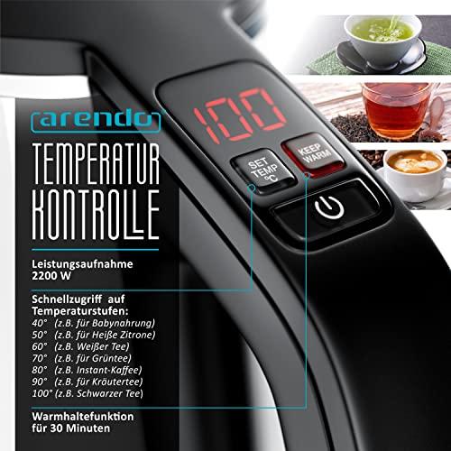 Arendo – Edelstahl Wasserkocher mit Temperatureinstellung | 7 wählbare Temperaturstufen 40° C – 100° C | 3 Tasten (Temperatureinstellung + Warmhaltefunktion + ON/Off) | BPA frei | LED-Display | integrierter Kalkfilter | 1,5 Liter | 1850 – 2200 Watt | 360° drehbarer Kontaktsockel | doppelwandiges Edelstahlgehäuse | weiß - 4