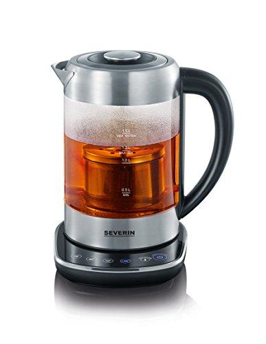 Severin WK 3471 Glas-Tee Wasserkocher, Glas edelstahl gebürstet