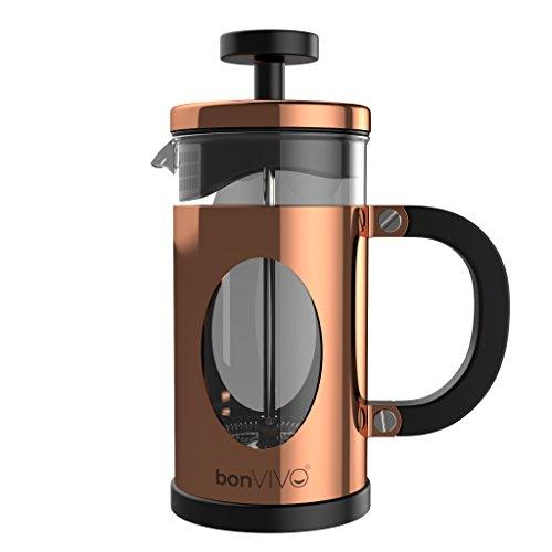bonVIVO® GAZETARO I, Design-Kaffeebereiter und French Press in Kupfer- oder Edelstahl Optik aus Edelstahl und Glas