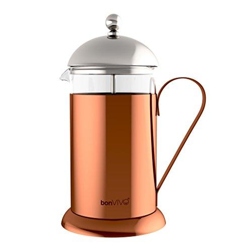 bonVIVO® GAZETARO II Design-Kaffeebereiter und French Press in Kupfer-Chrom Optik aus Edelstahl und Glas, mit Filter