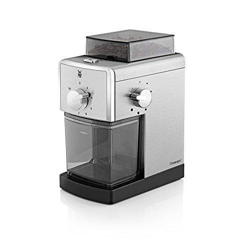WMF STELIO Kaffeemühle Edition, Scheibenmahlwerk aus Stahl, für Kaffee und Espresso, cromargan matt/silber